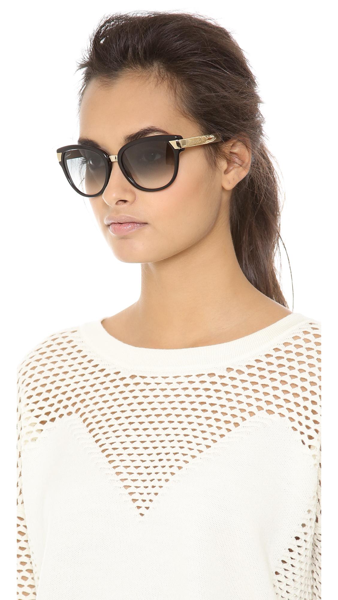 f59eed9e3d4 Lyst - Gucci Cat Eye Sunglasses Blackgreen Gradient in Black