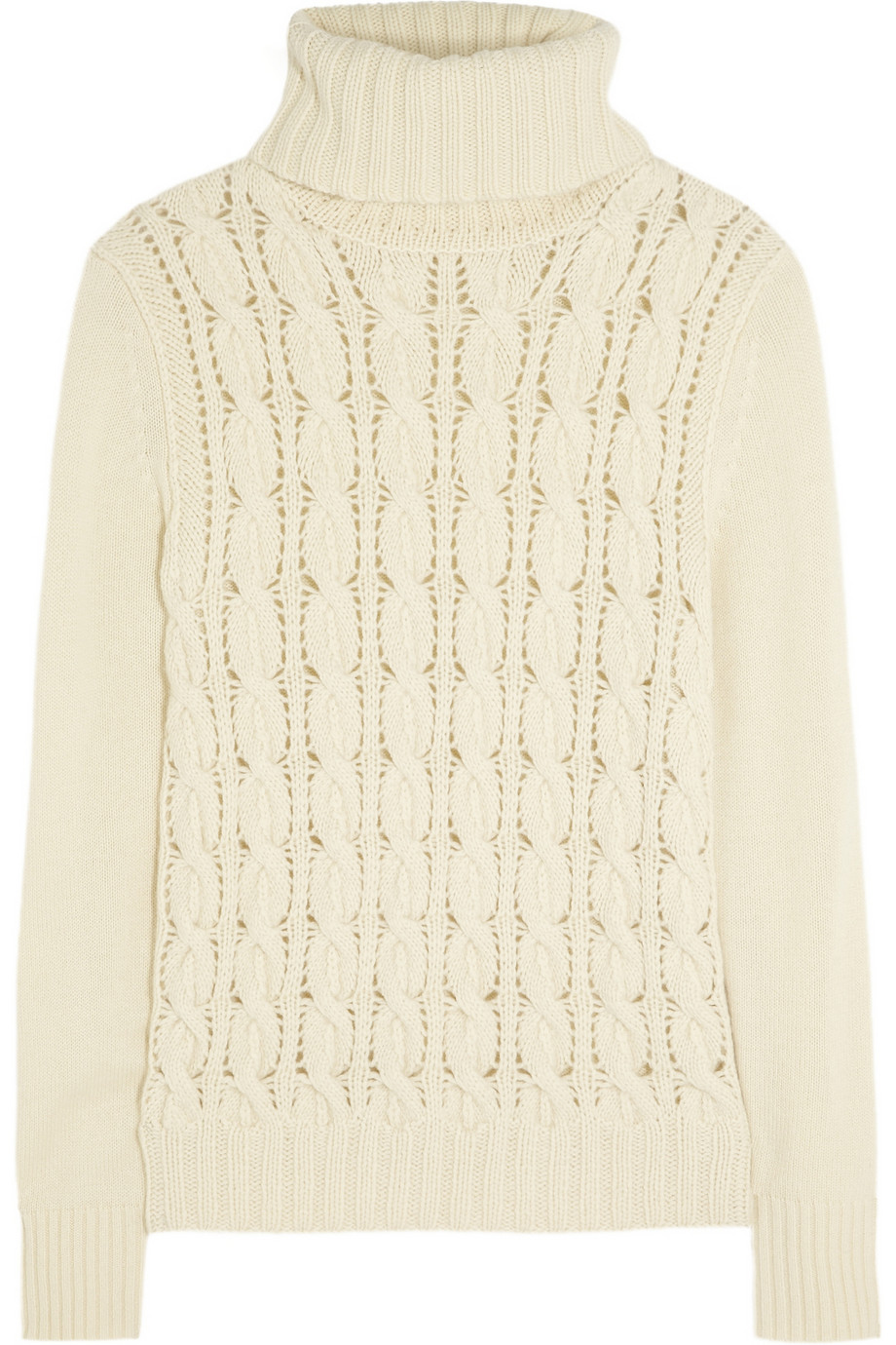 Iris & ink Cableknit Turtleneck Sweater in White | Lyst