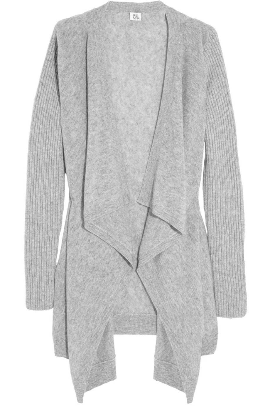 Iris & ink Ribbedsleeve Draped Cashmere Cardigan in Gray | Lyst