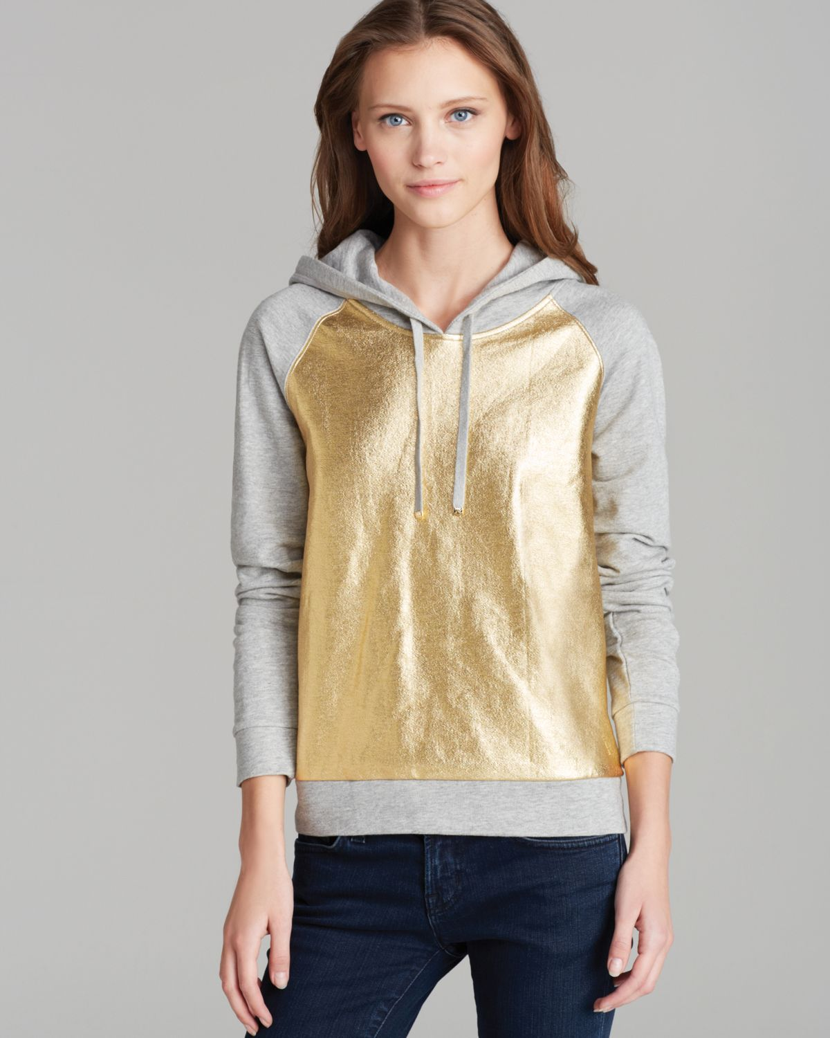Lyst - Juicy Couture Hoodie Metallic Pullover in Gray