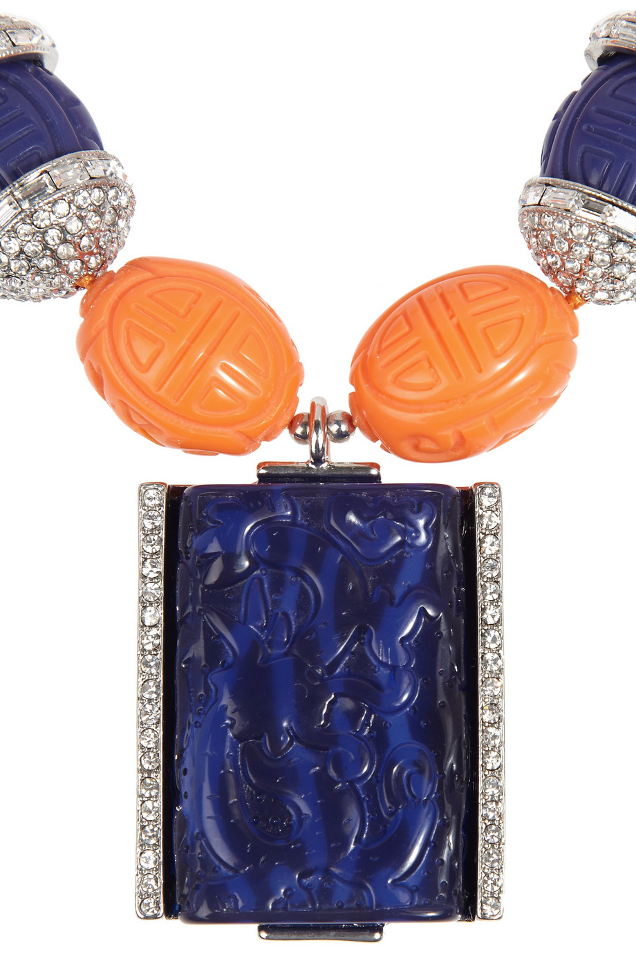 Kenneth Jay Lane Carved Bead and Crystal Necklace in Orange (Blue)