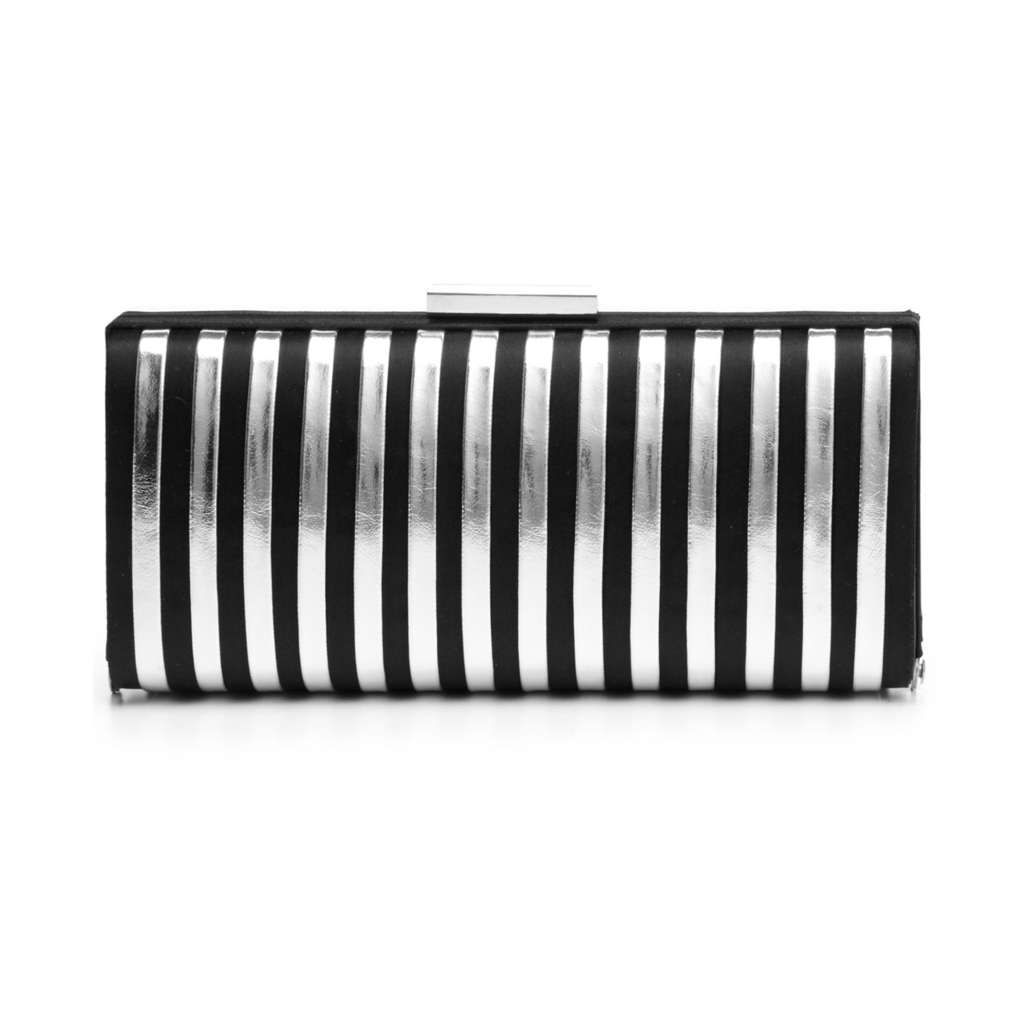 la regale metallic stripe evening clutch in black lyst. Black Bedroom Furniture Sets. Home Design Ideas