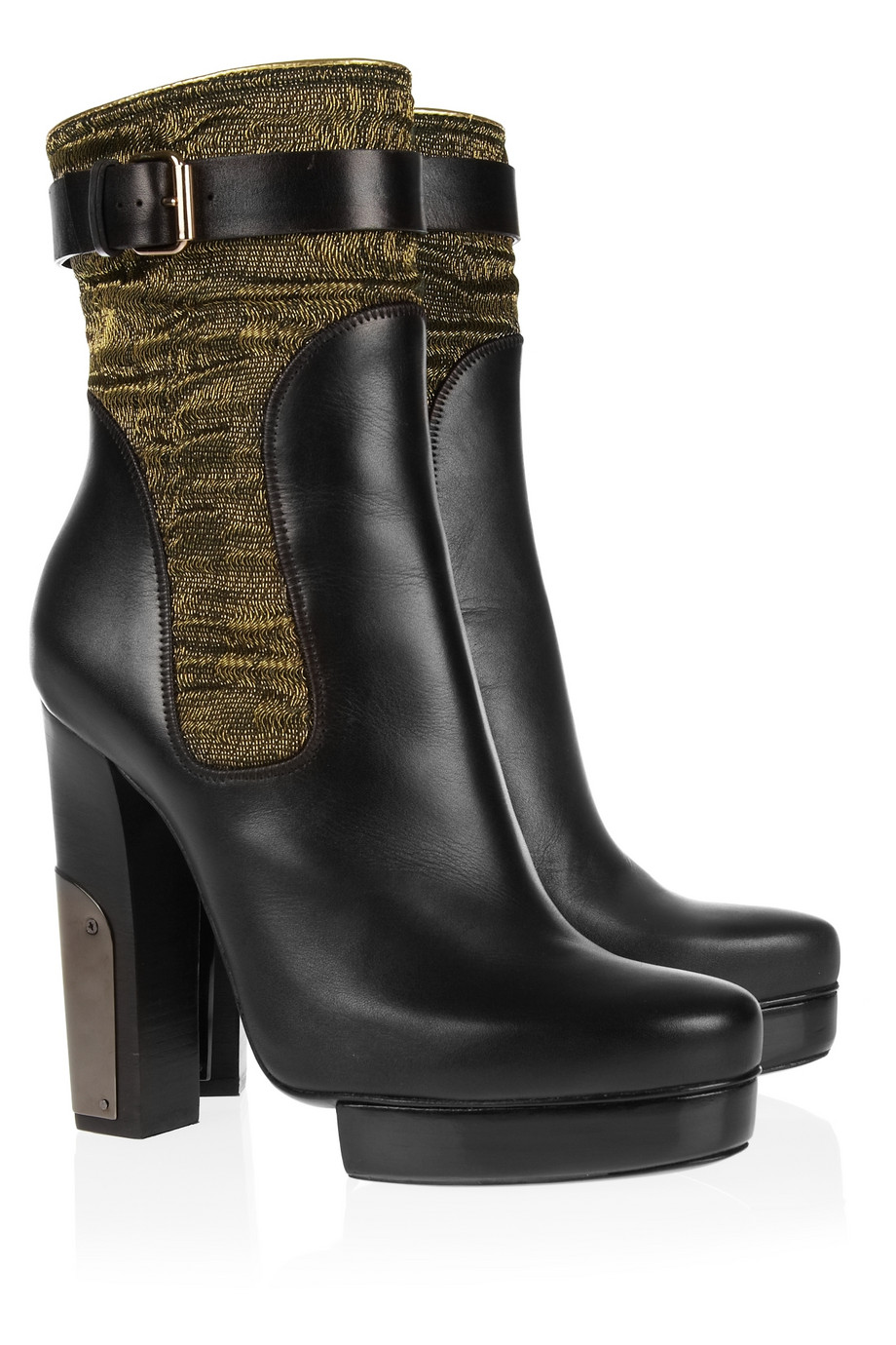 Lanvin Leather And Lurex Boots In Black Lyst