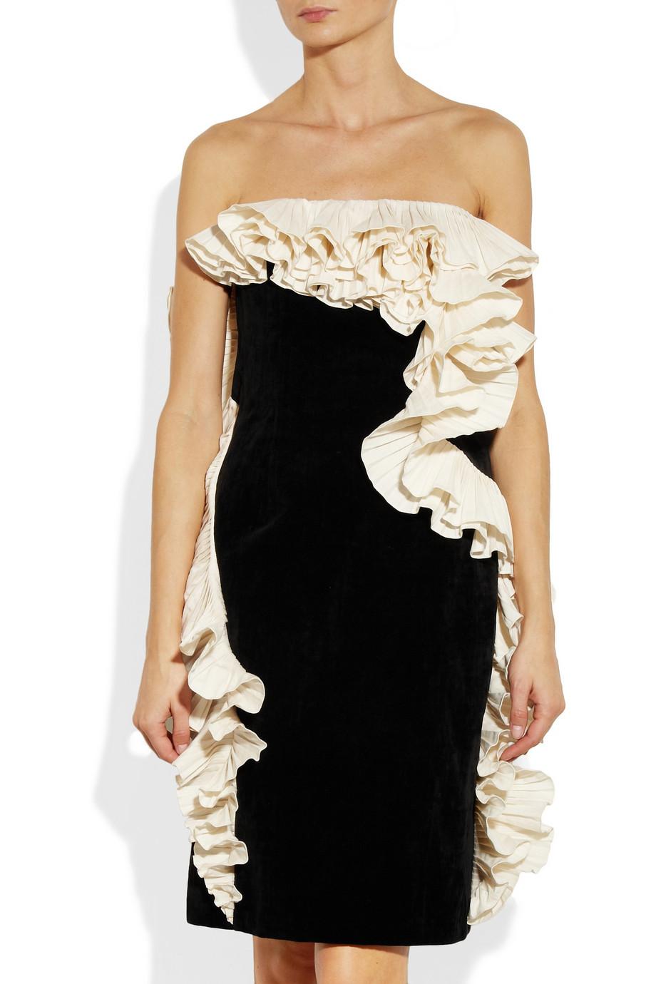 Lanvin Ruffled Velvet Dress In Black Lyst