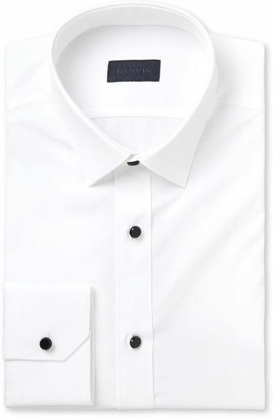 Lanvin white glass button cotton tuxedo shirt in white for for Tuxedo shirt black buttons