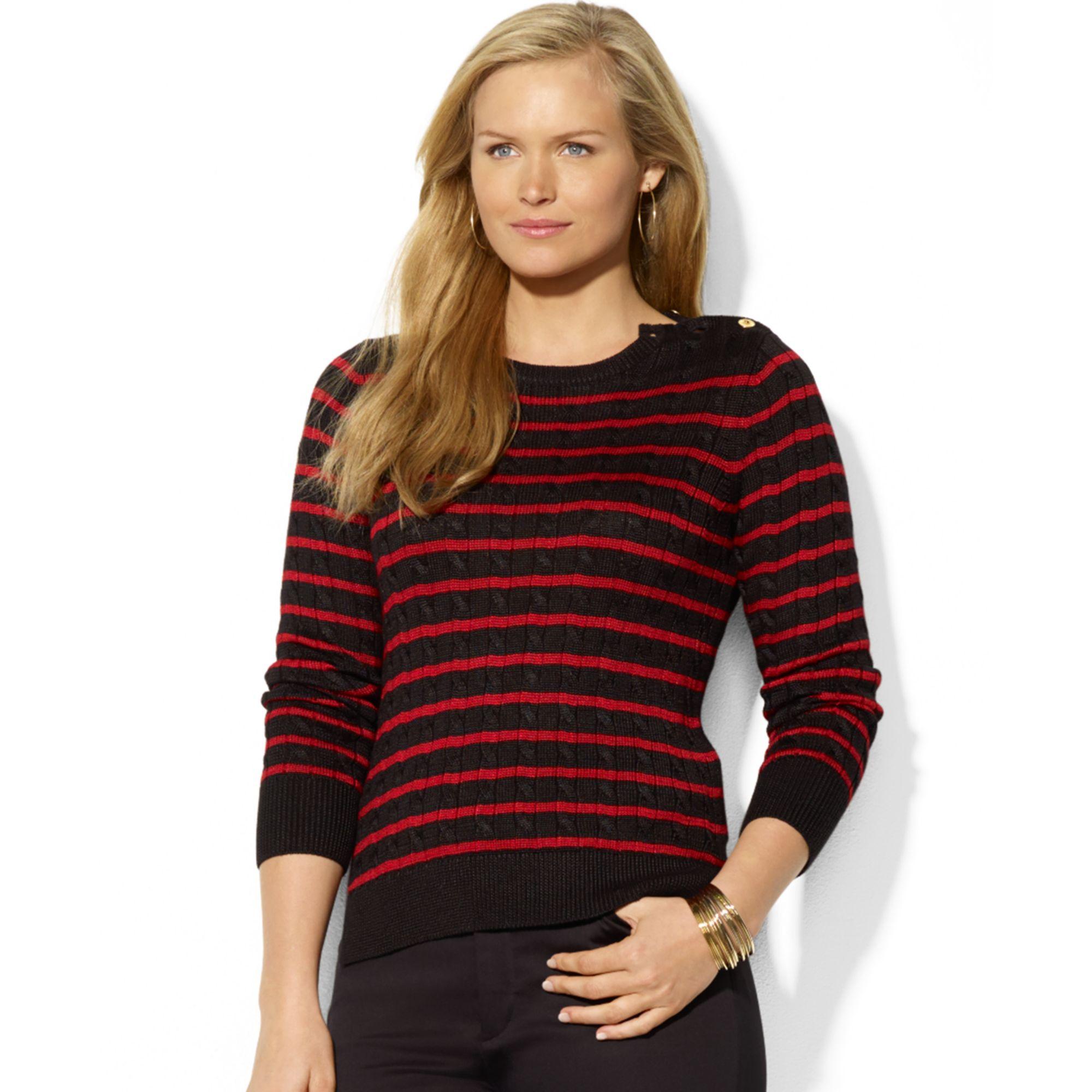 Cotton Cable Knit Sweater Plus Size