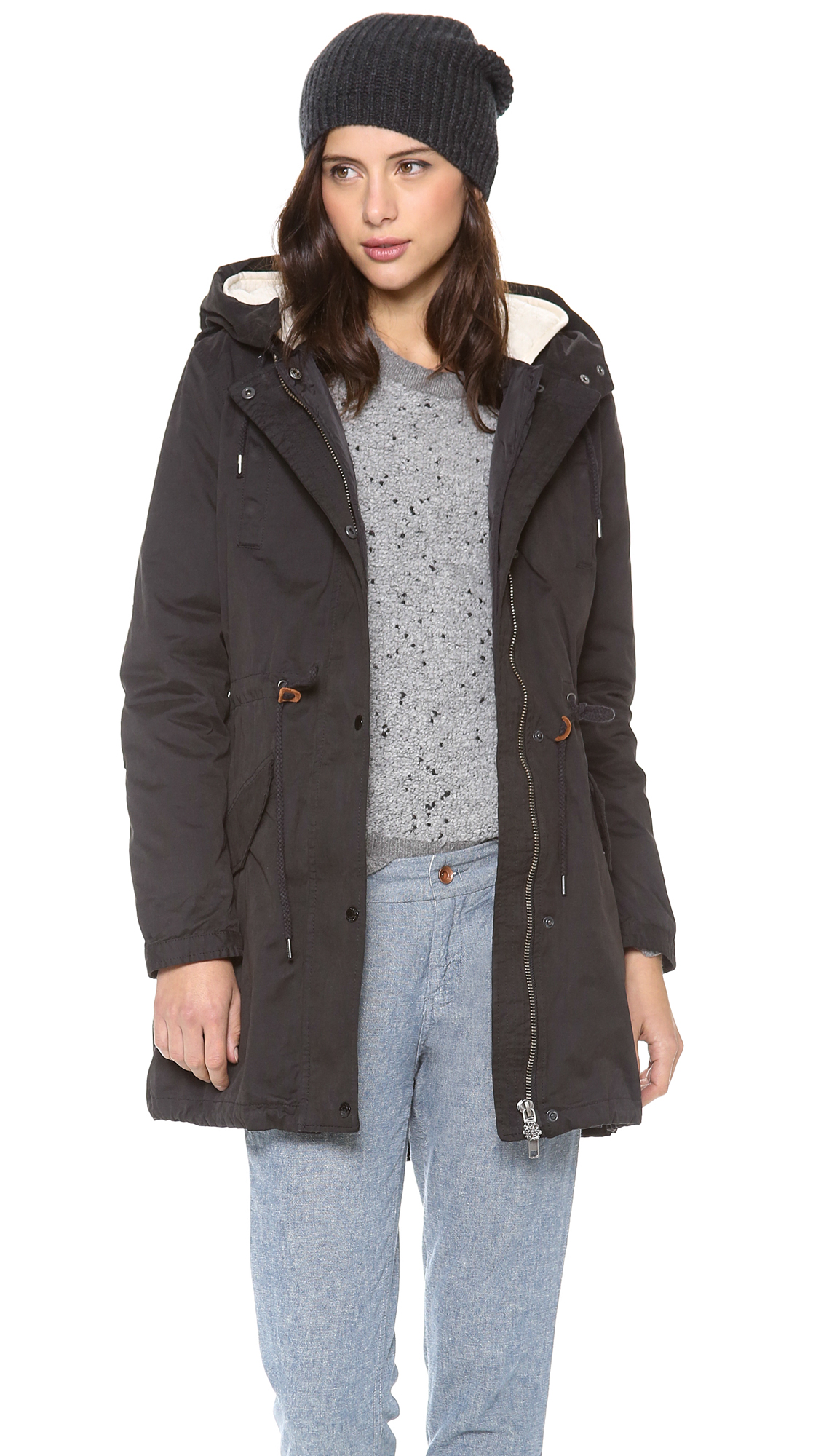 maison scotch parka with removable inner layer in black lyst. Black Bedroom Furniture Sets. Home Design Ideas