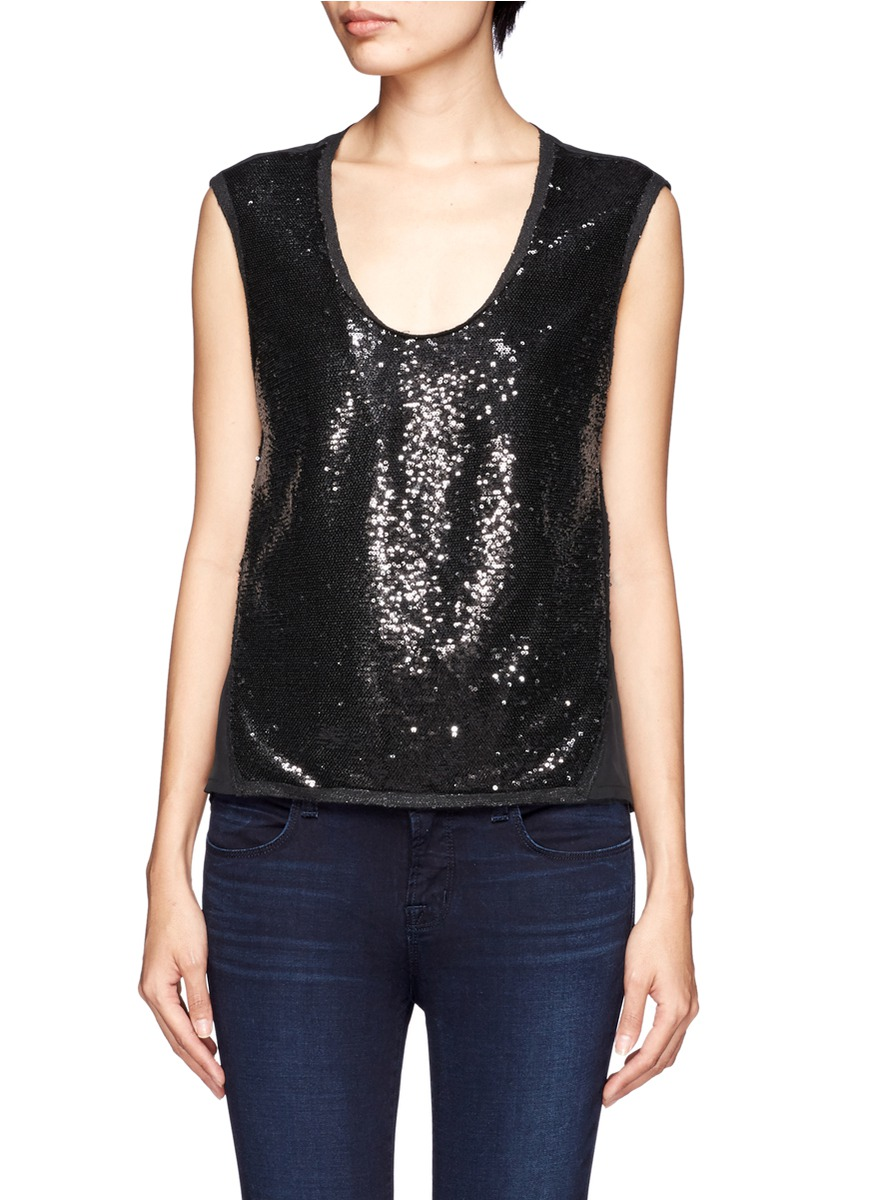 7616bfcd7fb43 Lyst - Maje Sequin Front Scoop Neck Sleeveless Top in Black
