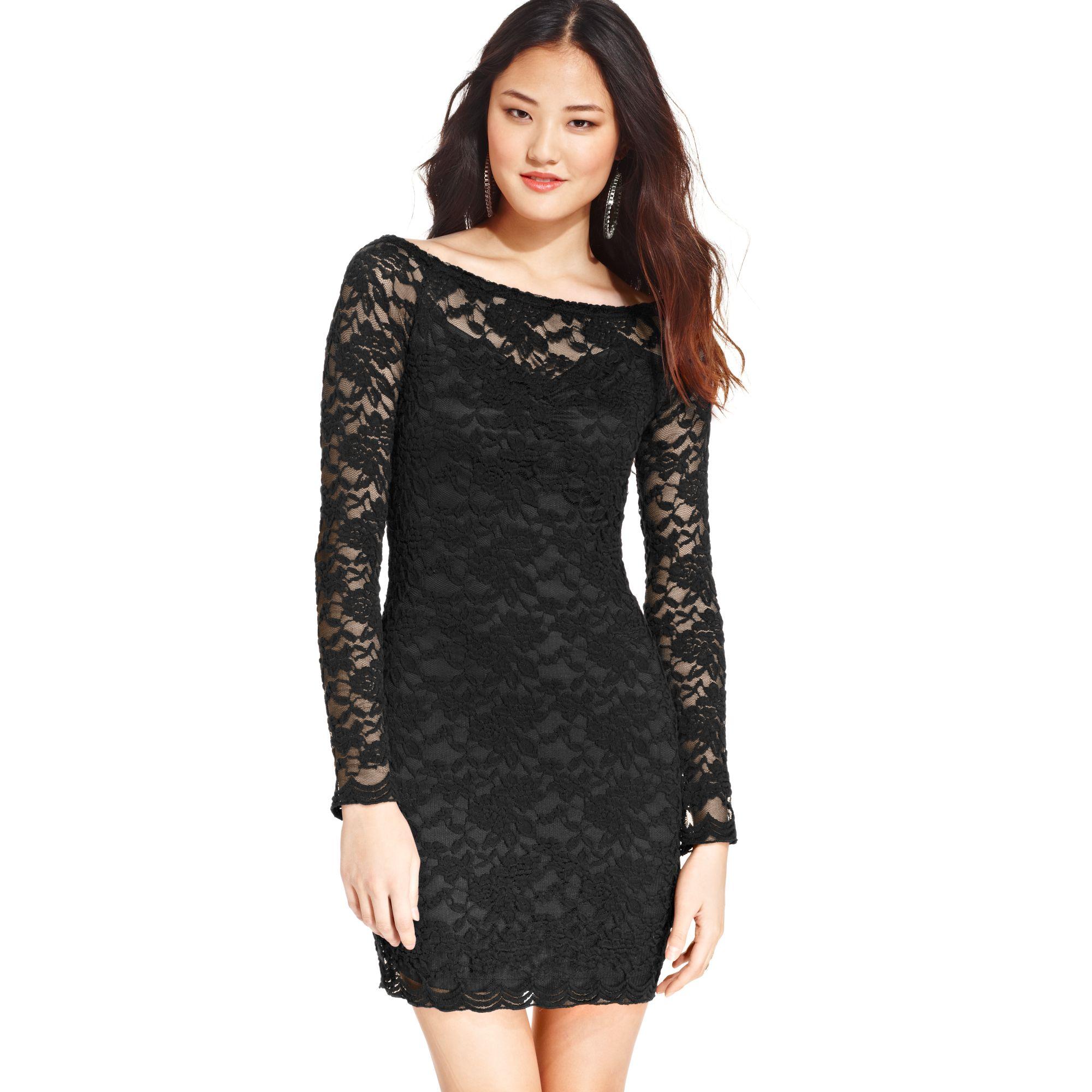 0377d3c602c77 Lyst - Material Girl Juniors Boat Neck Lace Dress in Black