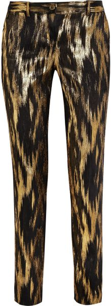 Michael Kors Samantha Metallic Ikat Jacquard Pants in Gold (black)