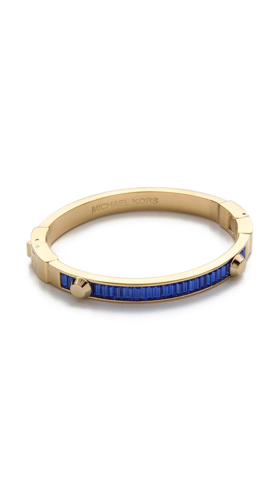 lyst michael kors baguette astor bangle bracelet in blue. Black Bedroom Furniture Sets. Home Design Ideas