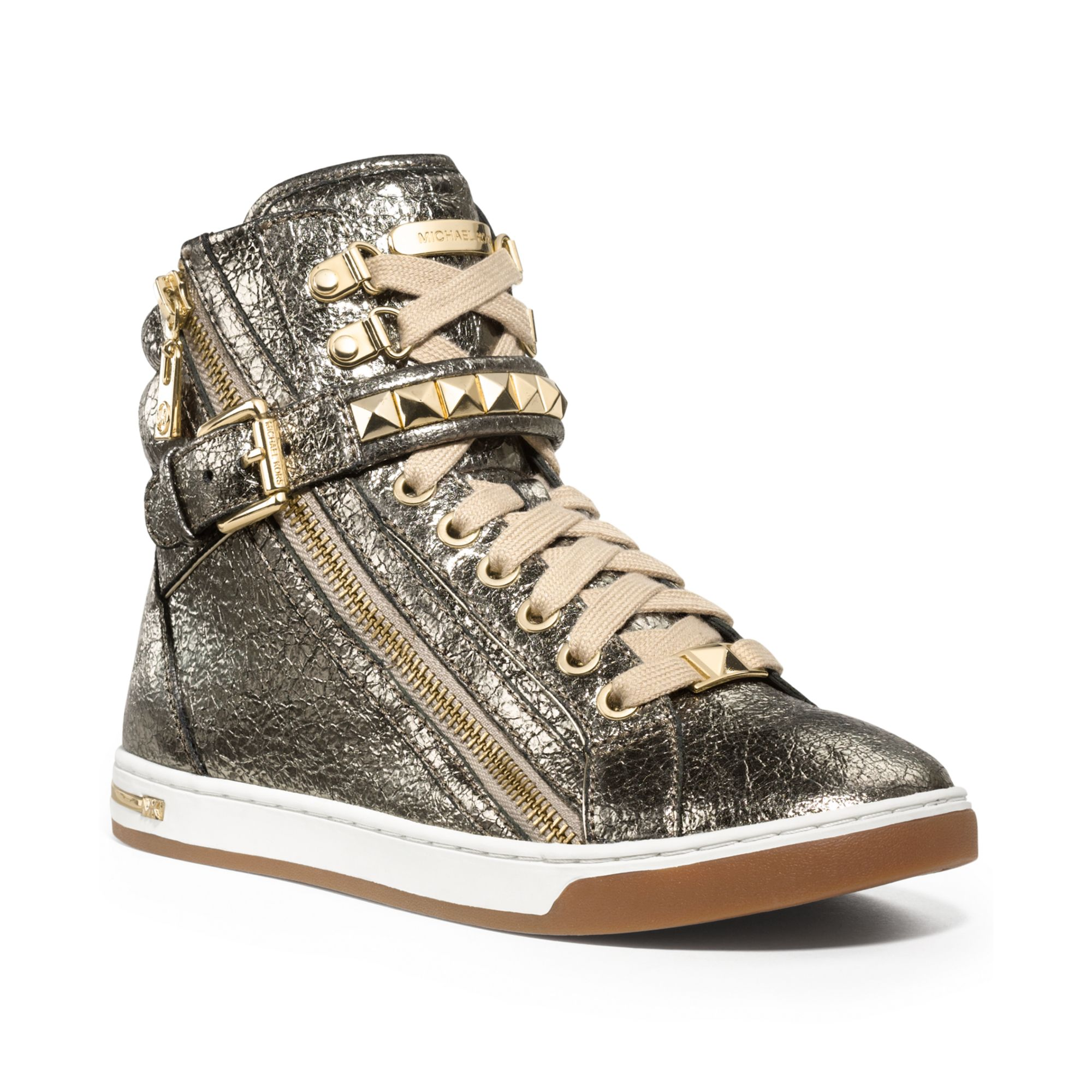 michael kors michael glam studded high top sneakers in gold gunmetal crackle metallic lyst. Black Bedroom Furniture Sets. Home Design Ideas