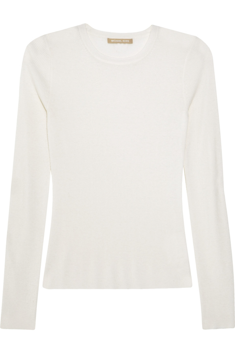 Michael kors Ribbed Cashmere Sweater in White | Lyst