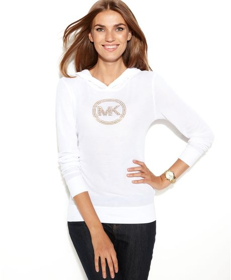 Michael Kors Longsleeve Studded logo Hooded in White (White/Gold)