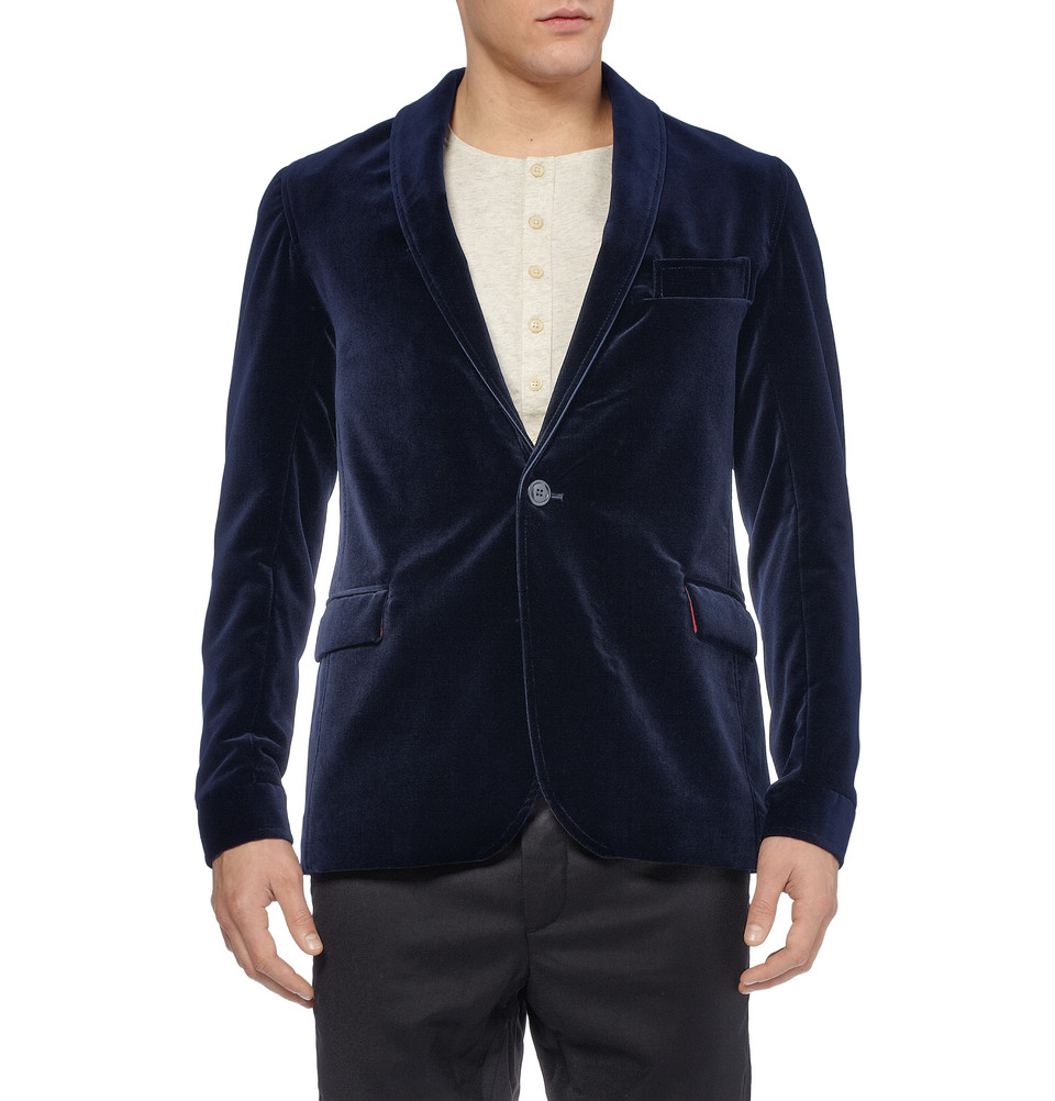 Oliver Spencer Braunton Shawl Collar Velvet Blazer in Blue for Men