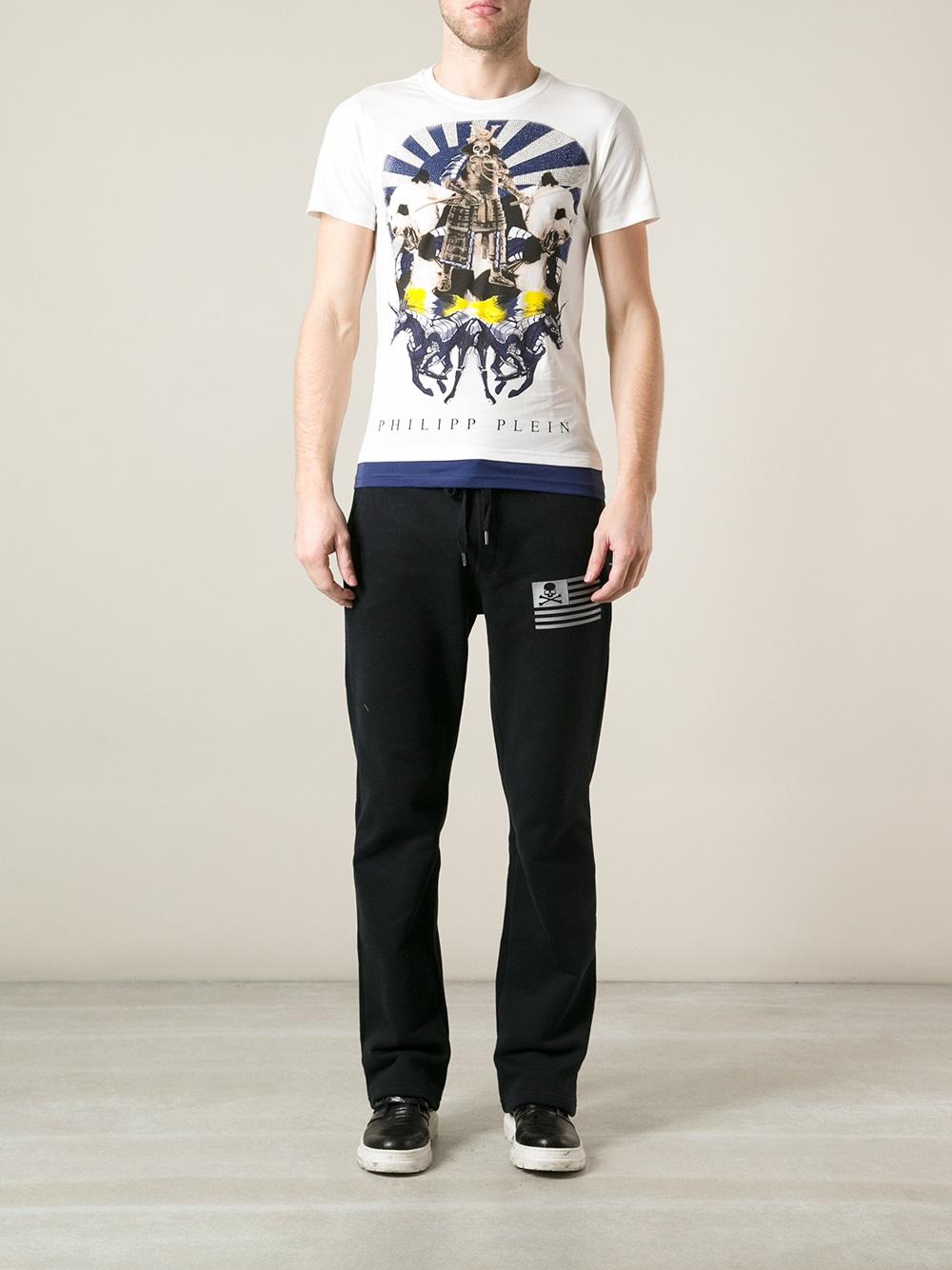 philipp plein samurai tshirt in white for men lyst. Black Bedroom Furniture Sets. Home Design Ideas