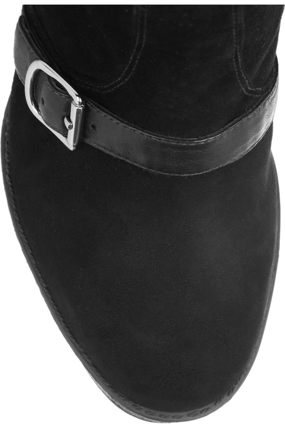 Pour La Victoire Darien Leather-Trimmed Suede Ankle Boots in Black
