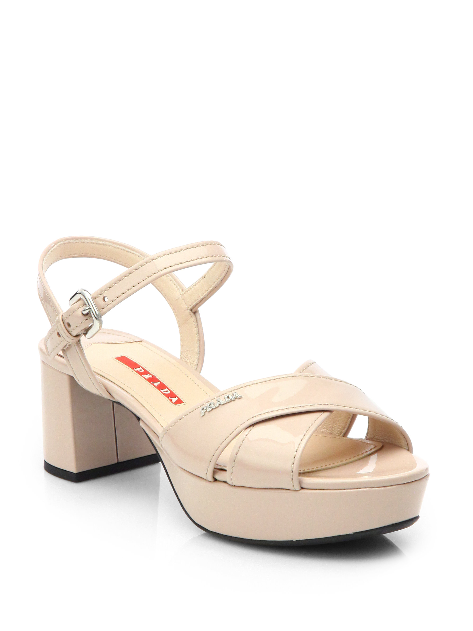 bc2d1e3e8ea Prada Patent Leather Crisscross Platform Sandals in Natural - Lyst