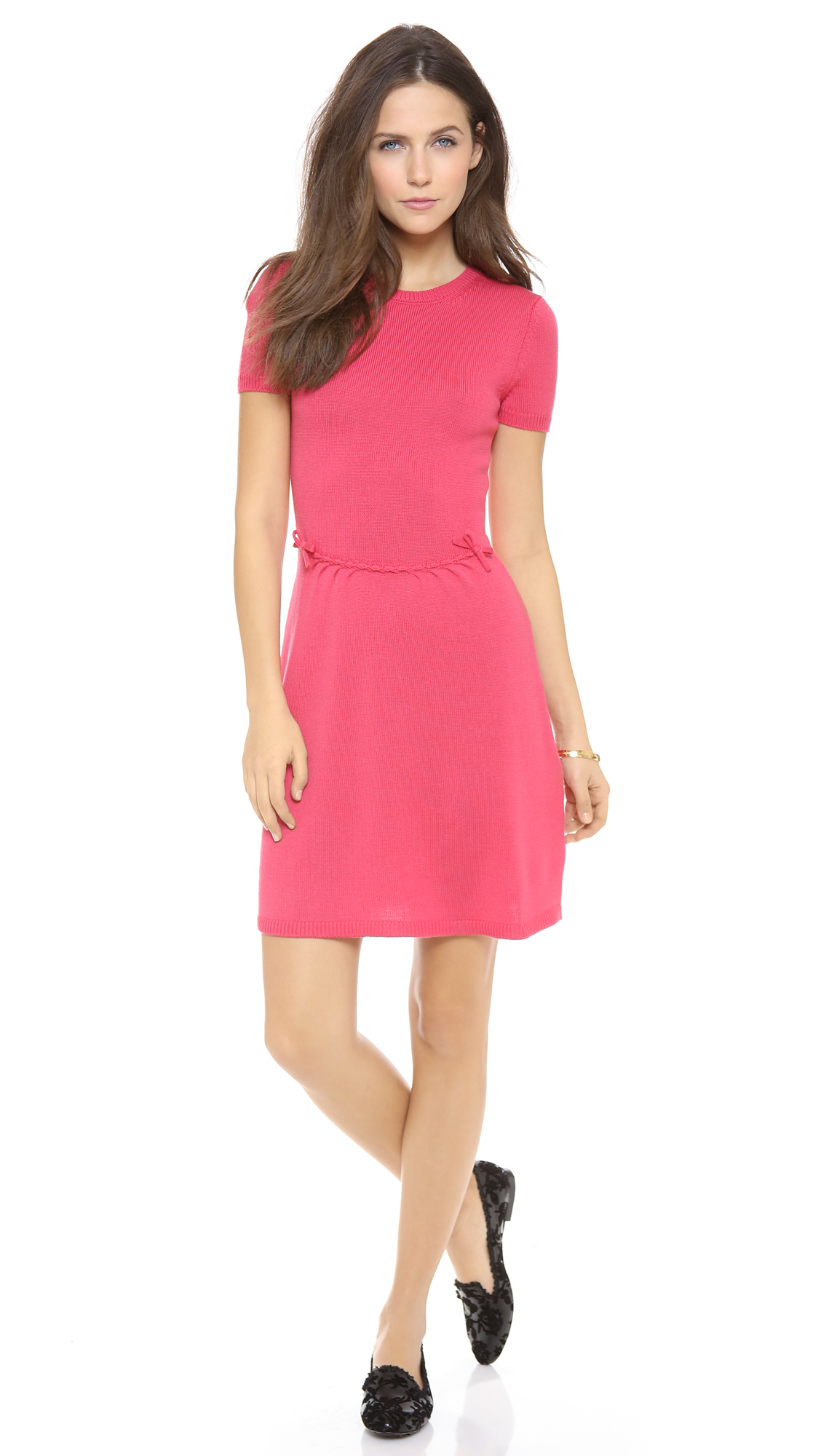 Lyst Red Valentino Short Sleeve Knit Dress In Pink
