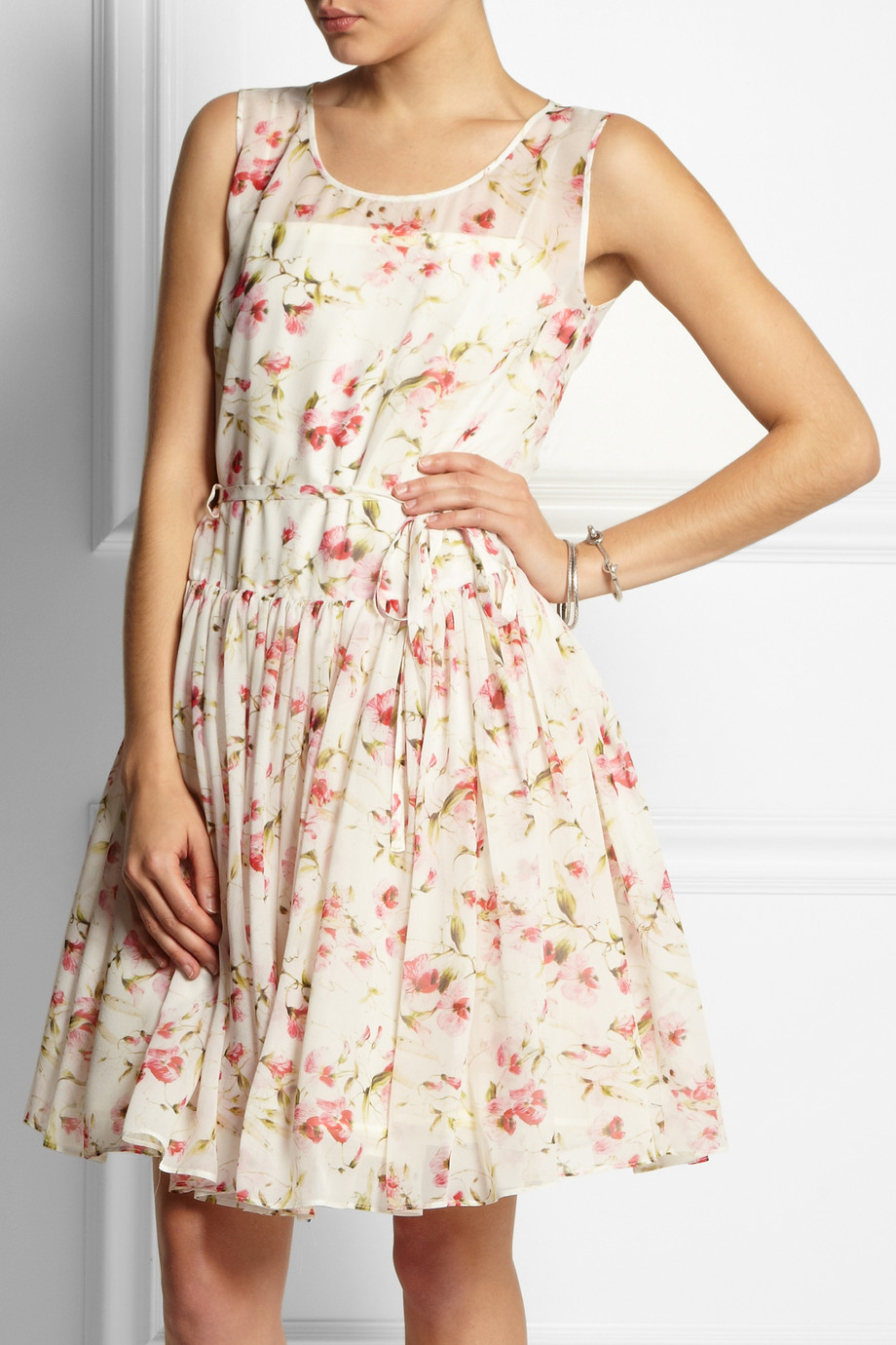 Shoulders floral silk chiffon dress agree, remarkable