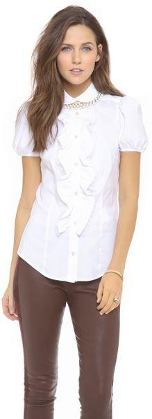 White Short Sleeve Ruffle Blouse 76