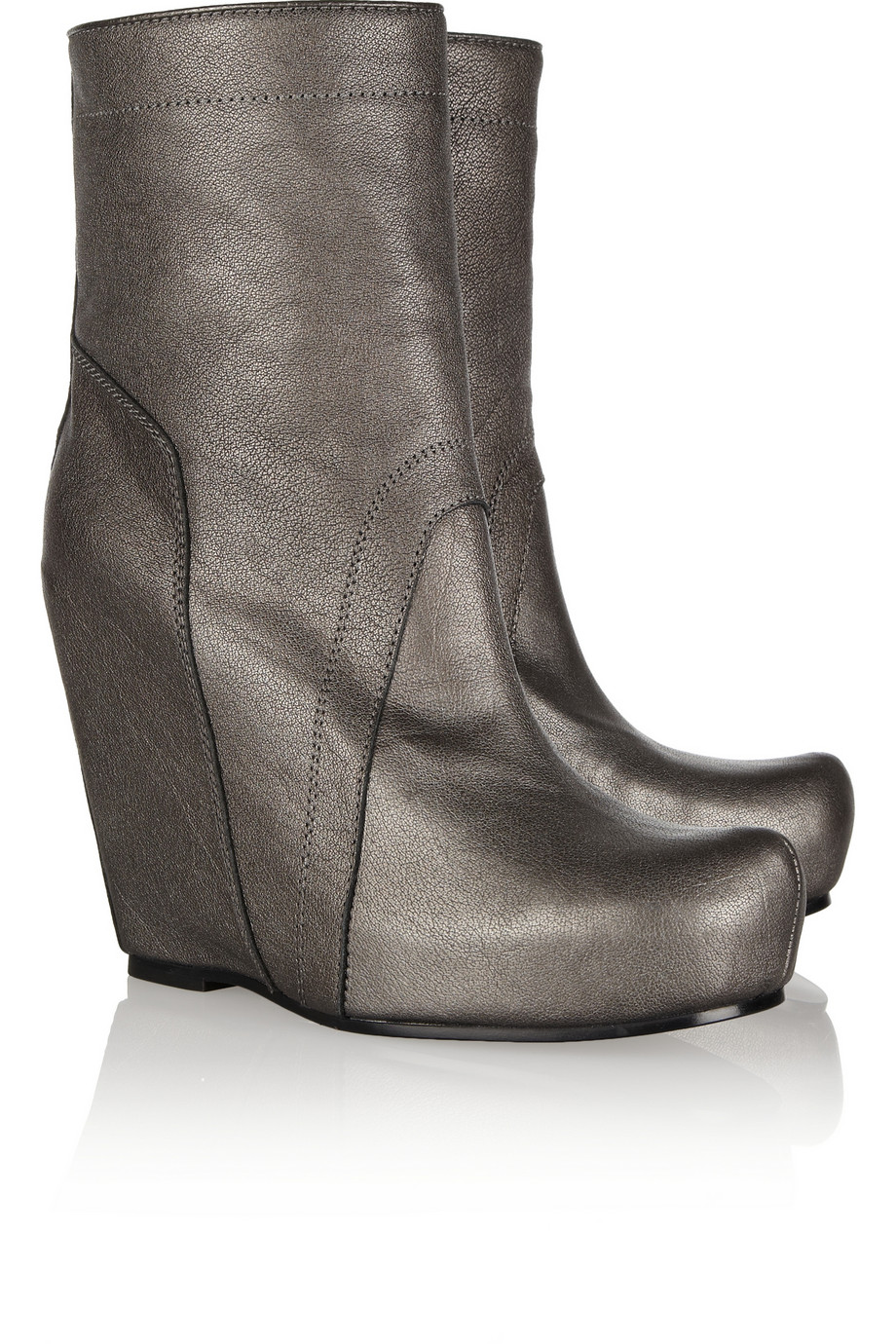 rick owens metallic leather wedge boots in silver lyst