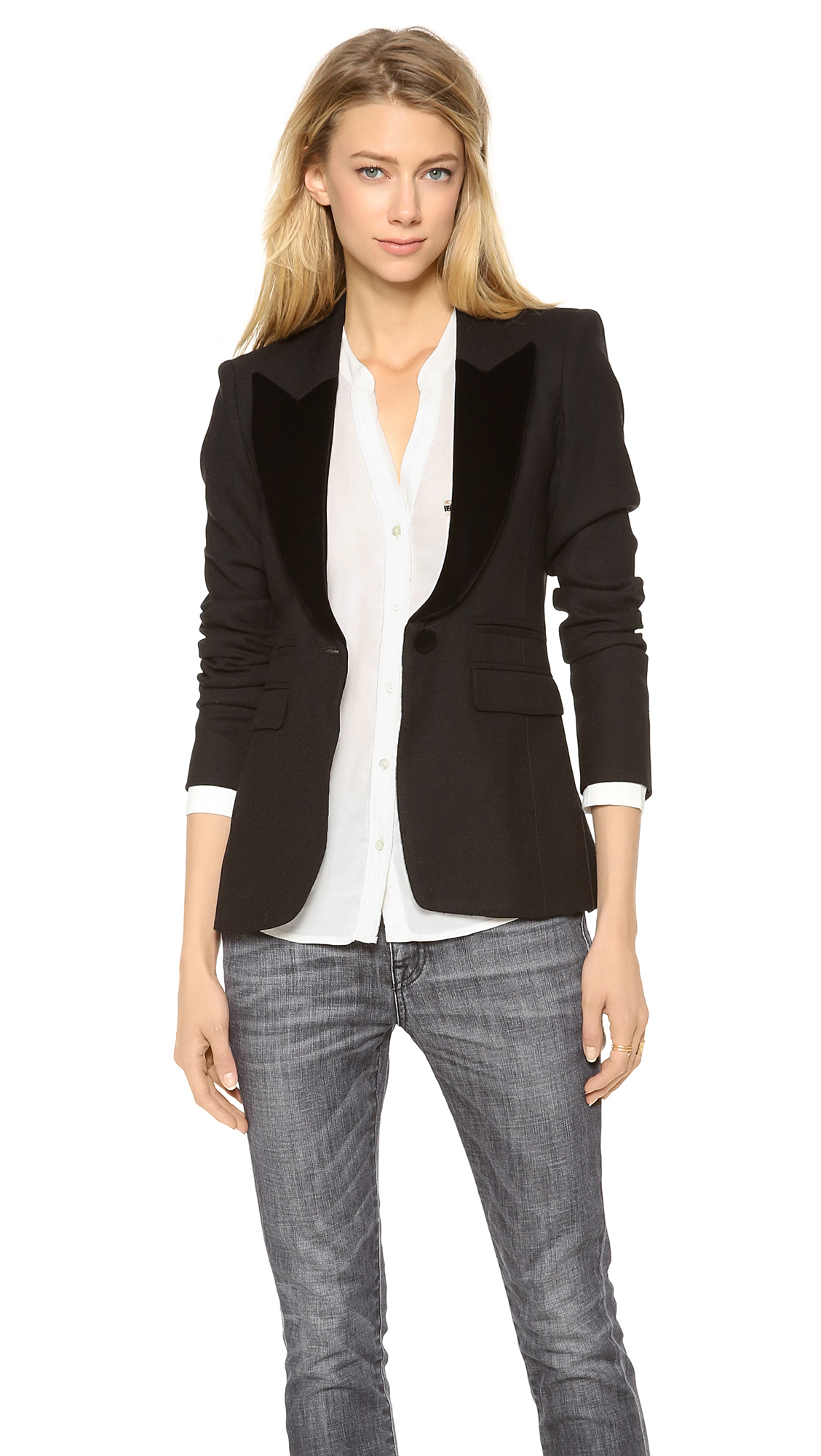 Smythe peaked lapel tuxedo blazer in black lyst for Smythe inc