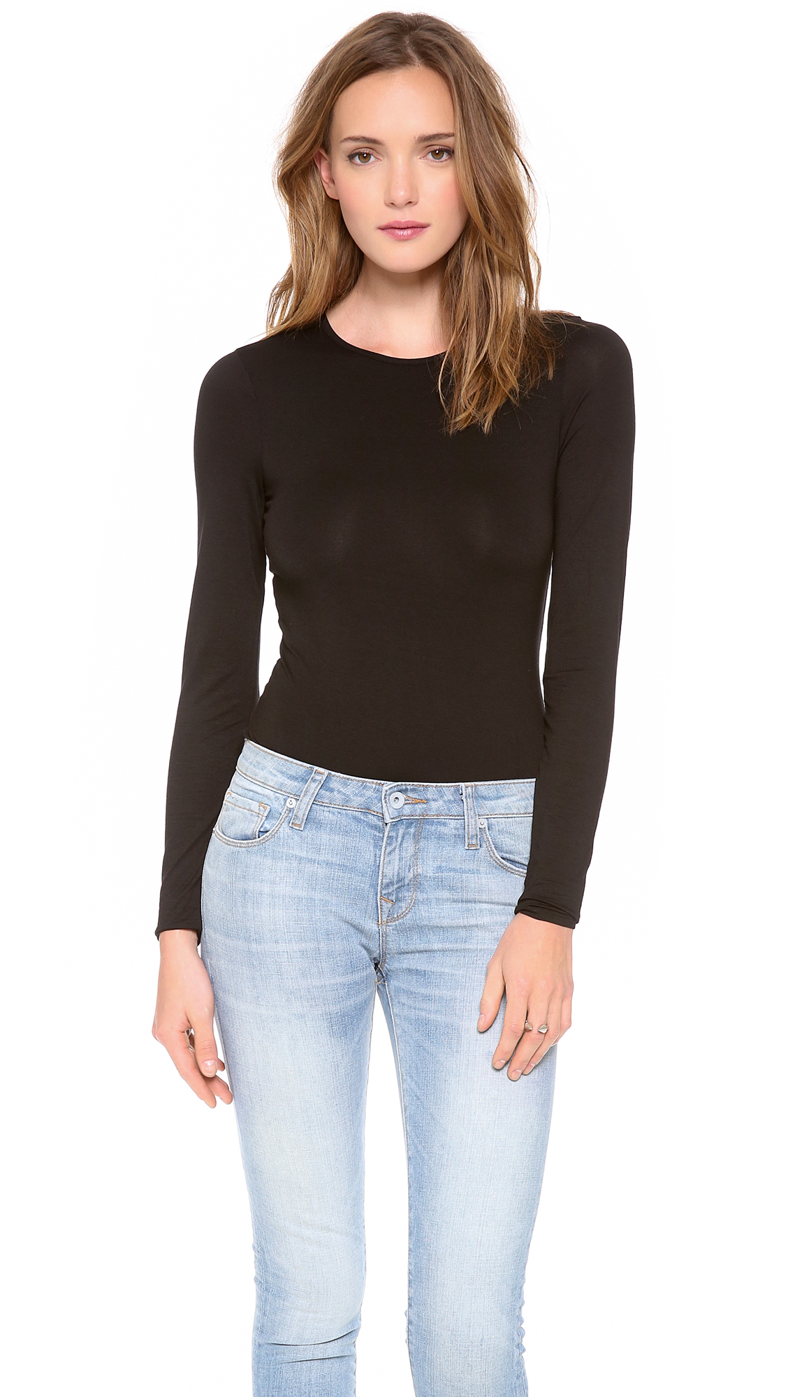 Three Dots Long Sleeve Bodysuit with Crew Neck in Black - Lyst