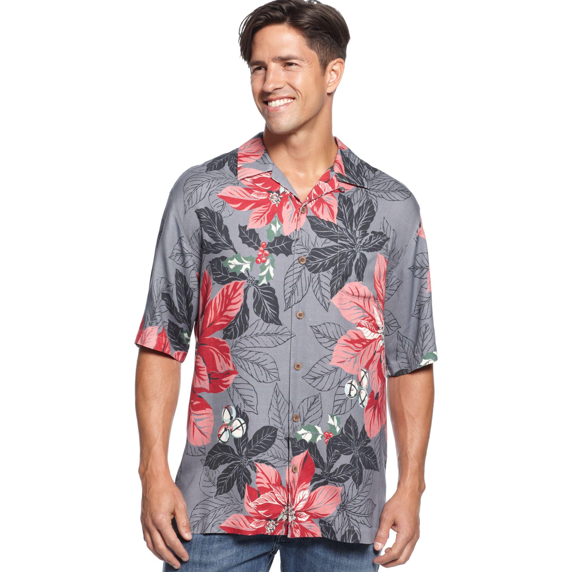 Lyst tommy bahama short sleeve half pipe holiday shirt for Tommy bahama christmas shirt 2014