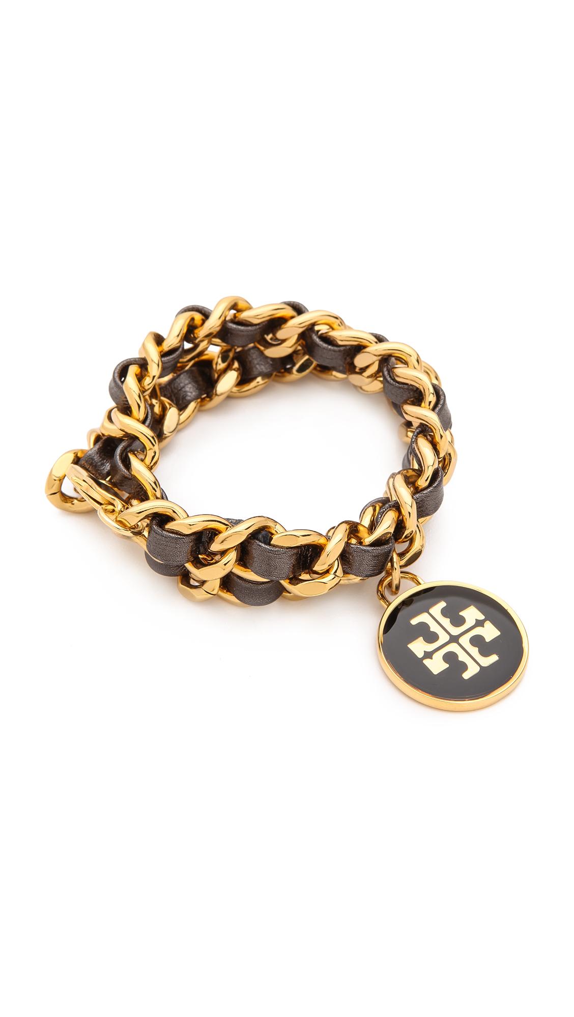Tory Burch Metallic Leather Chain Double Wrap Bracelet In