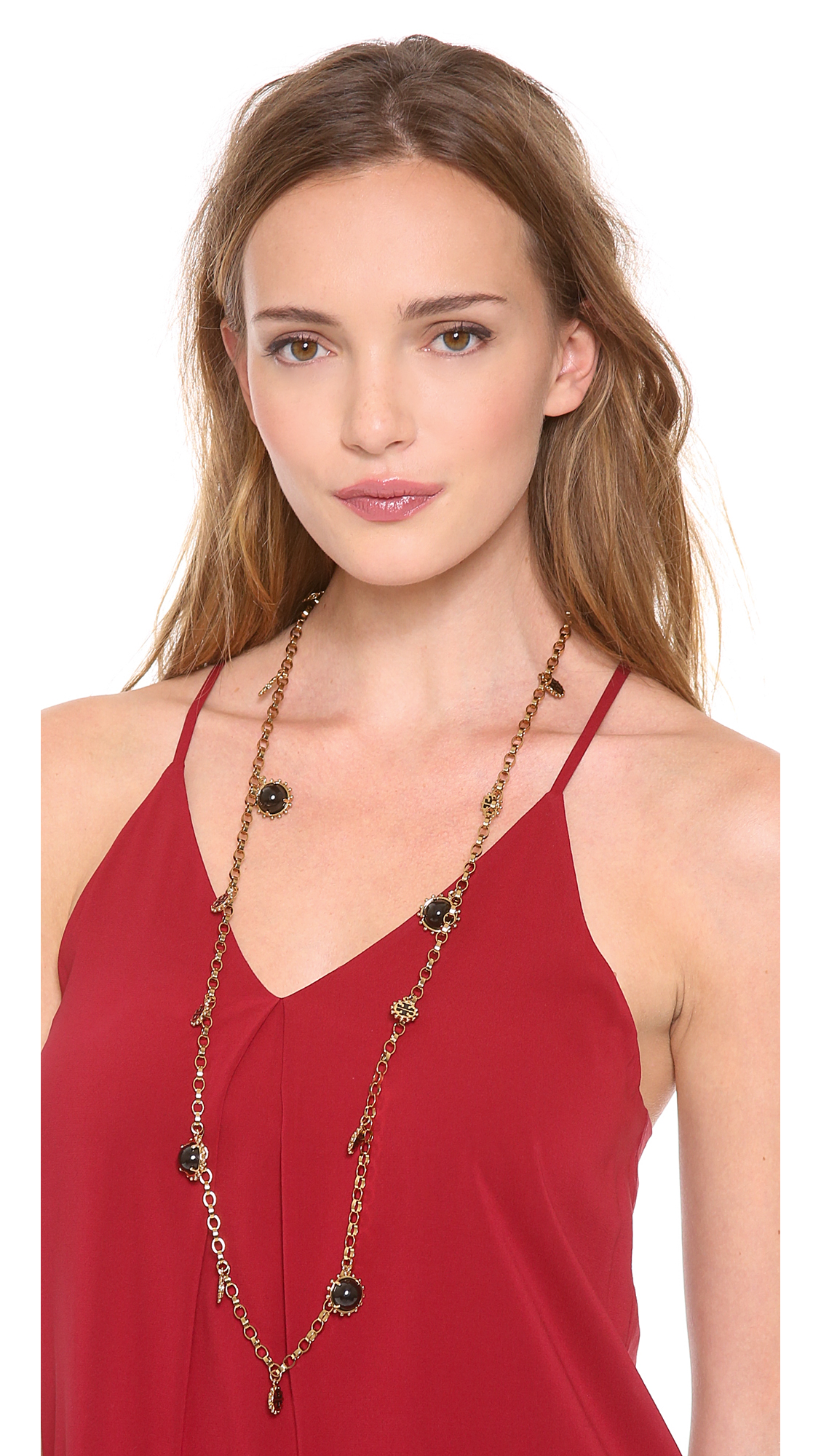 Lyst Tory Burch Winslow Logo Rosary Necklace In Metallic