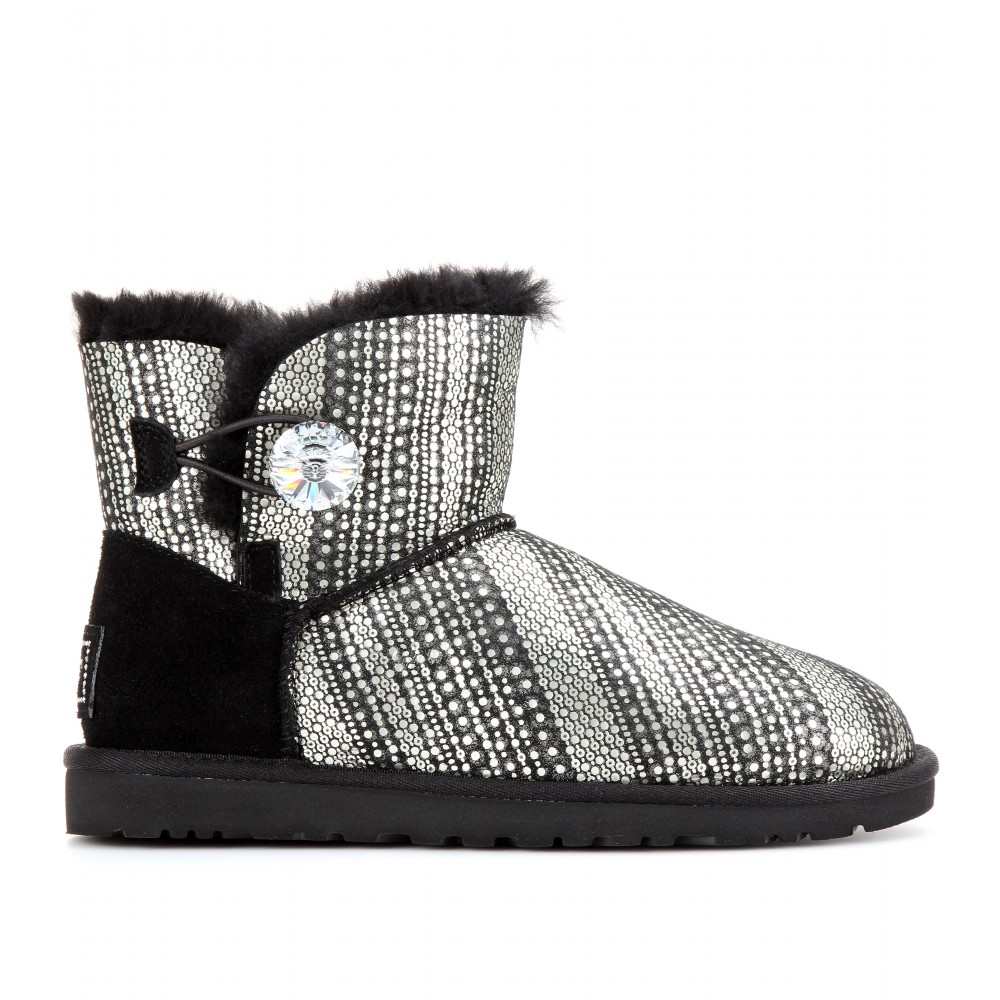 75c6d1a6852 UGG Black Mini Bailey Button Bling Shearling lined Boots