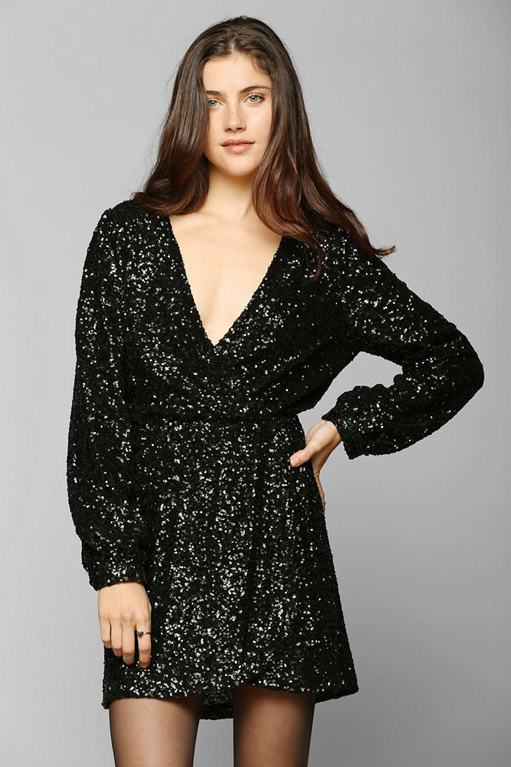urban outfitters black honey punch sequin surplice dress product 1 15084063 680471850