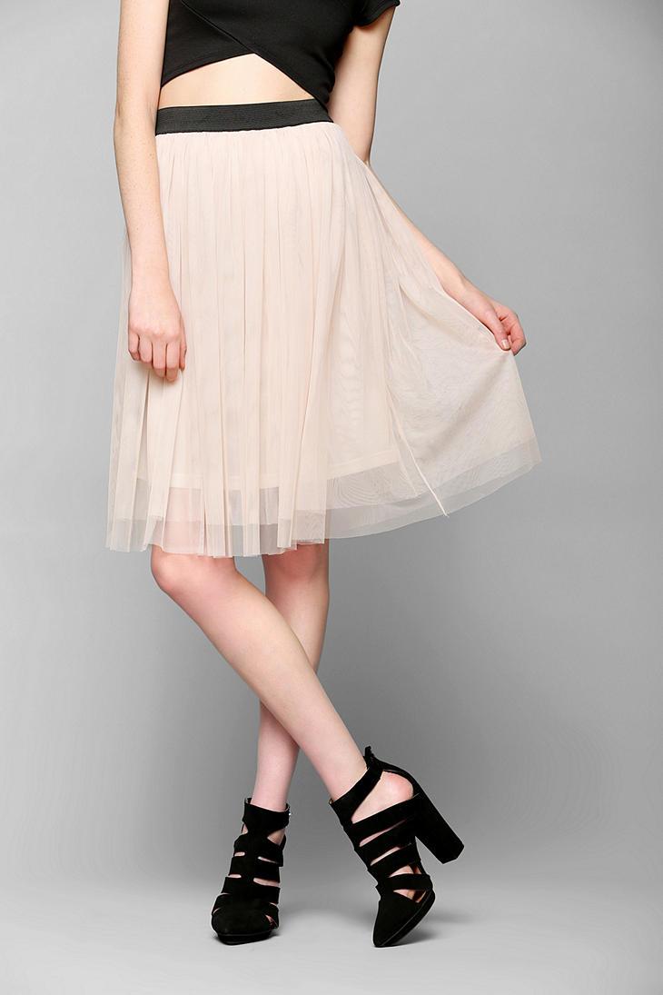 outfitters ballerina tulle midi skirt in lyst