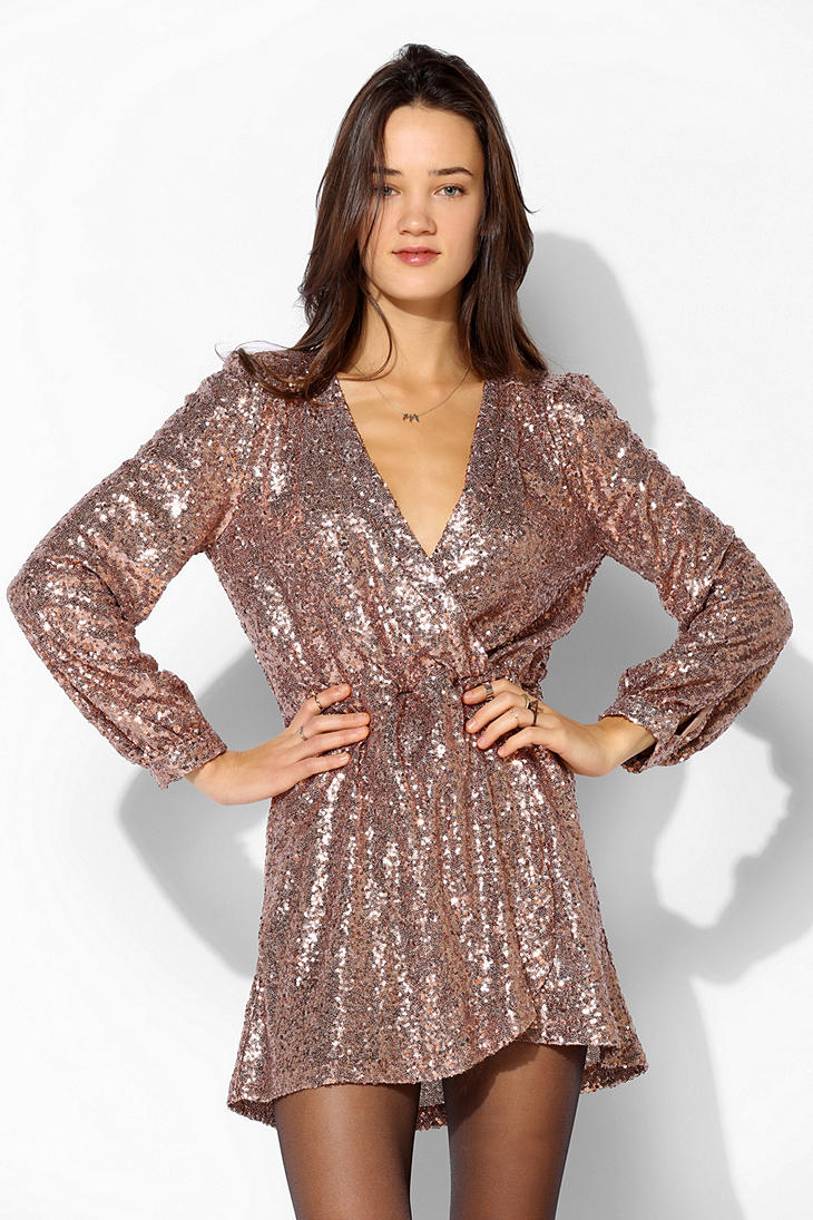 urban outfitters gold honey punch sequin surplice dress product 1 15084060 680544436