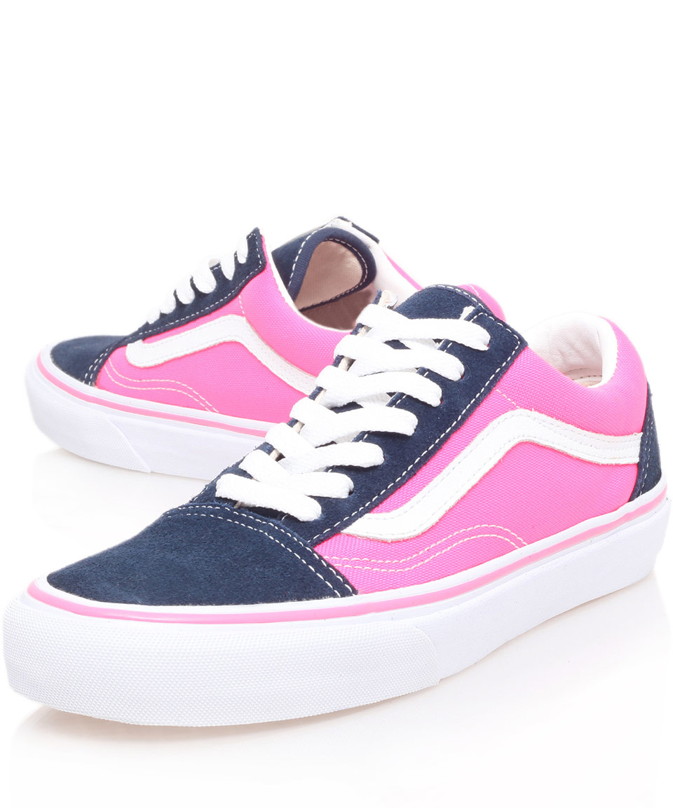 601ae075b9 Lyst - Vans Navy and Pink Old Skool Trainers in Blue for Men