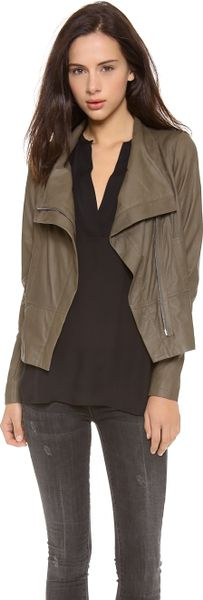 Vince Paper Leather Asymmetric Zip Jacket In Khaki Olive