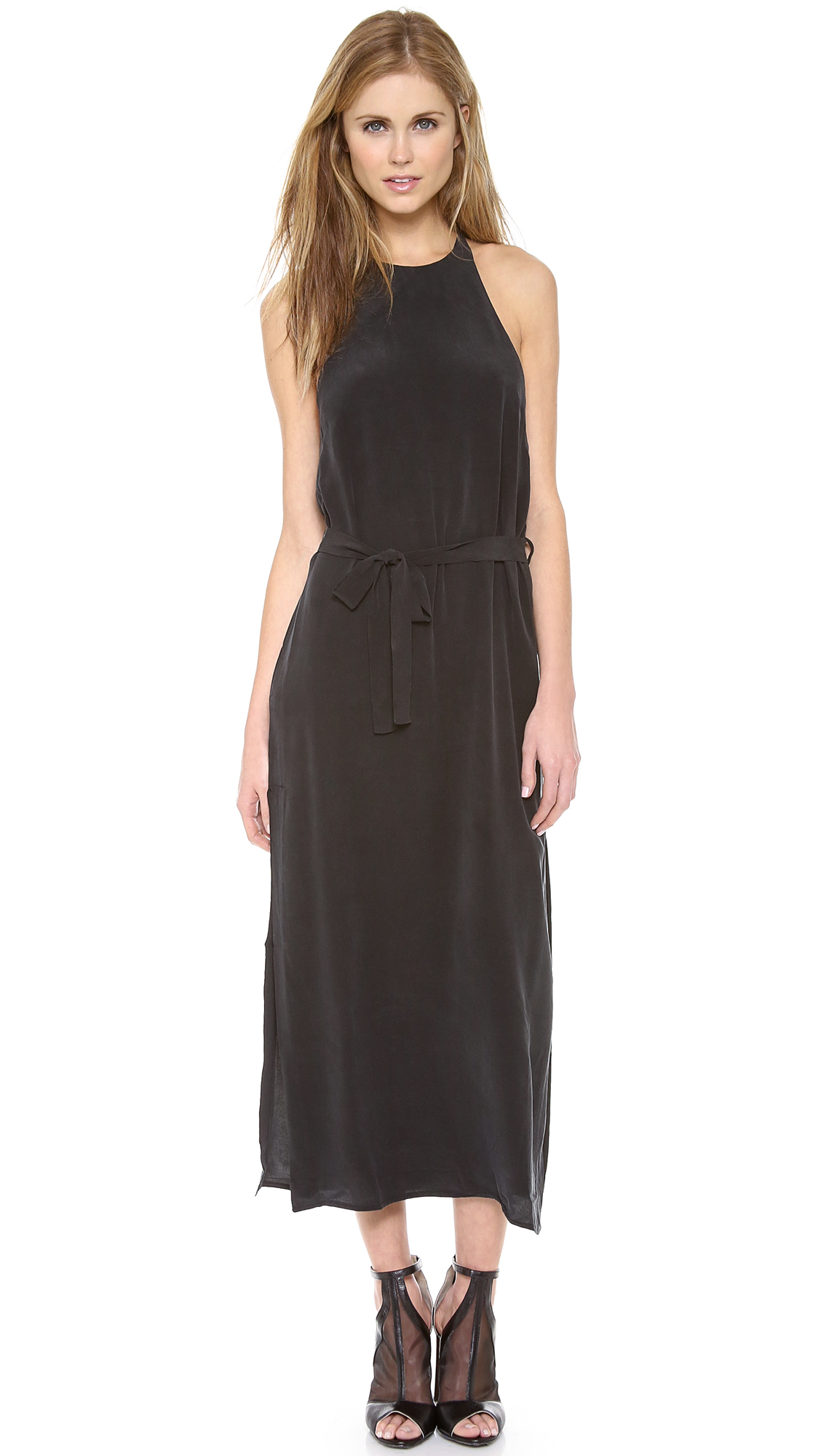 Zimmermann Silk T Bar Maxi Dress in Black | Lyst