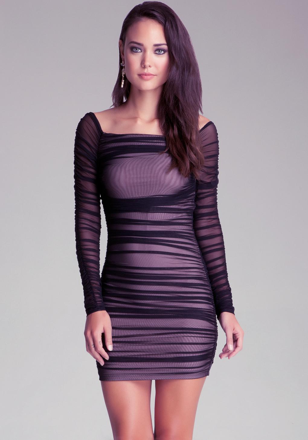 Bebe Off Shoulder Shirred Mesh Dress in Black