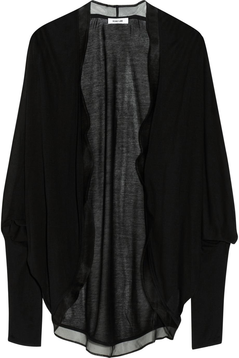 Helmut lang Silk Chiffon trimmed Jersey Cardigan in Black | Lyst