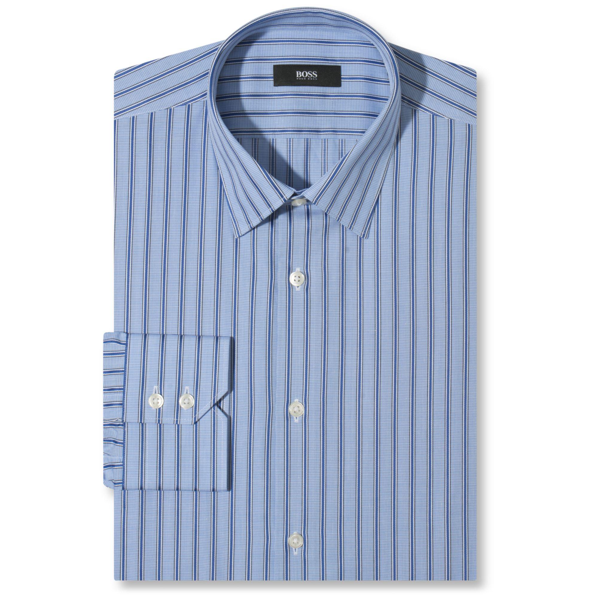 Hugo striped dress shirt in blue for men lyst male for Hugo boss dress shirts