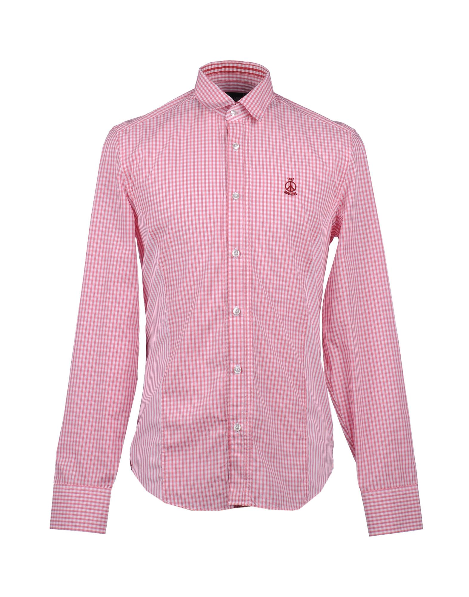Love moschino long sleeve shirt in pink for men lyst for Mens pink long sleeve shirt
