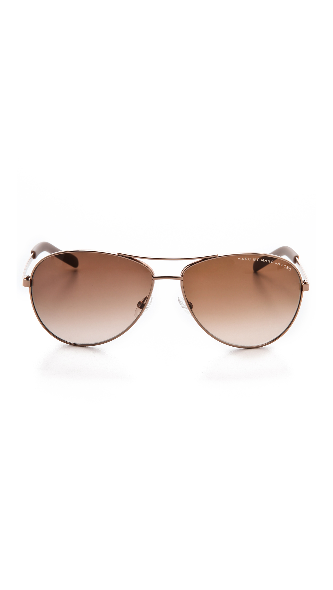 Marc By Marc Jacobs Metal Aviator Sunglasses - Red Gold in Brown