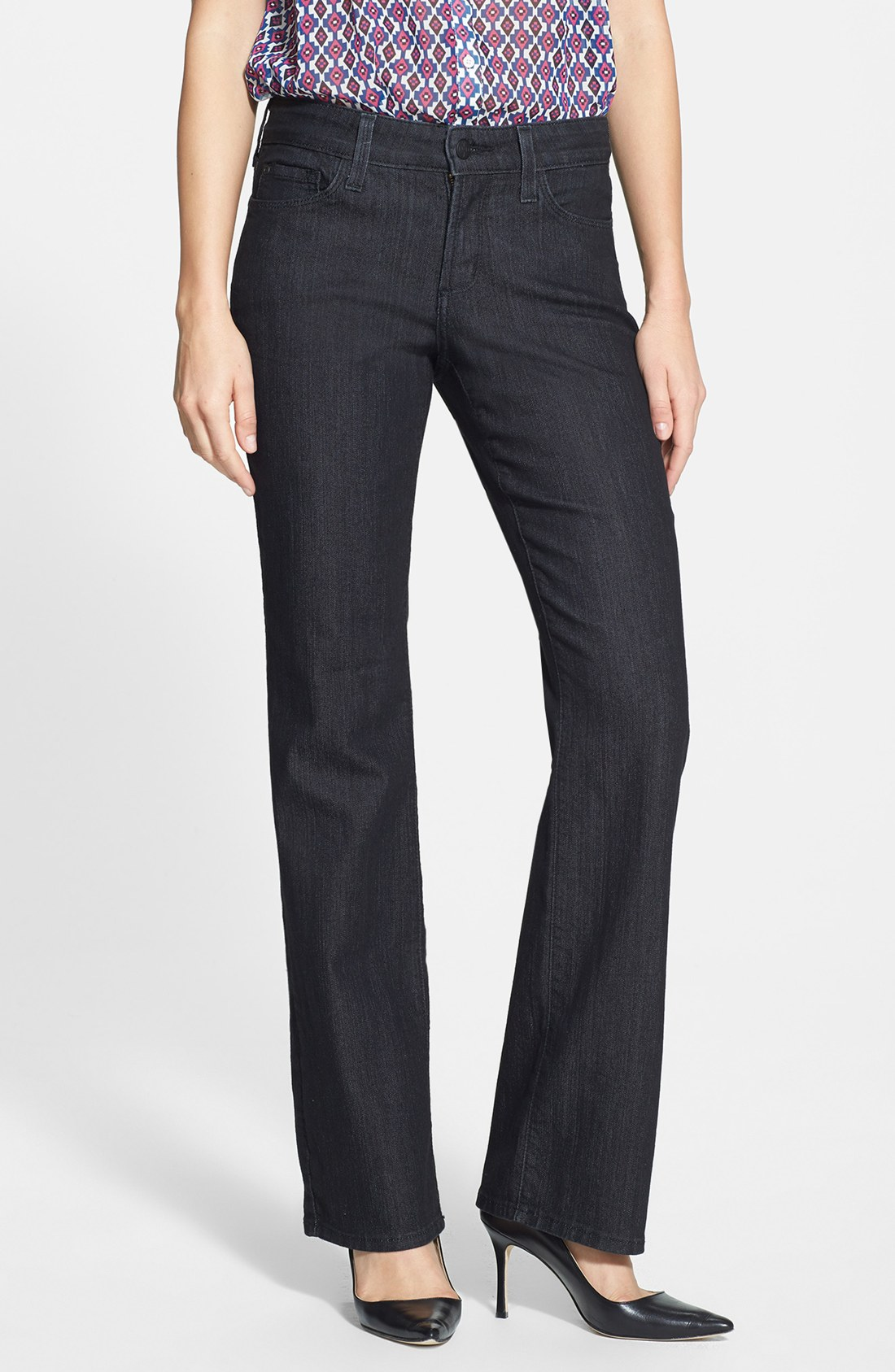 Nydj marilyn embroidered pocket stretch straight leg jeans