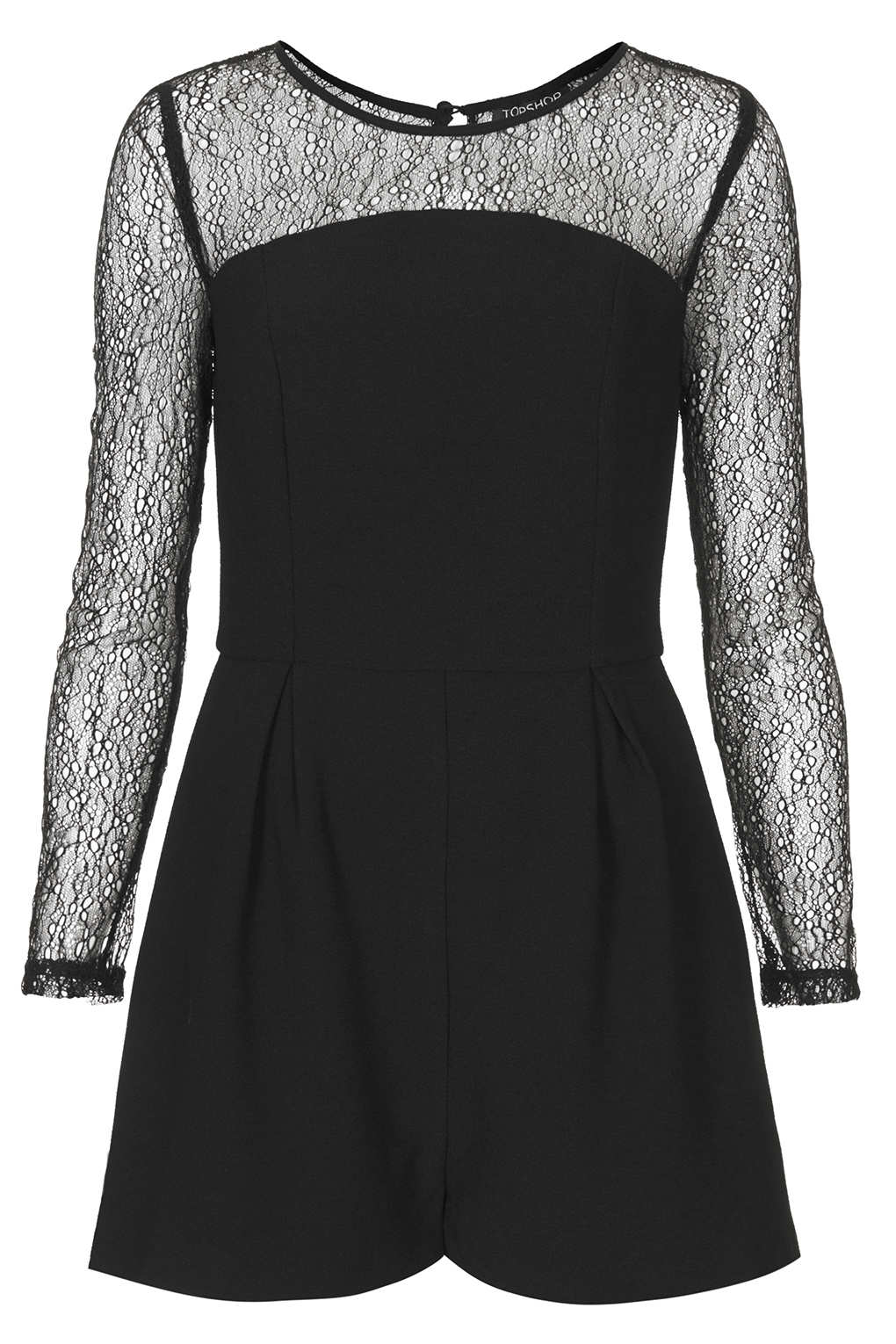 Lyst Topshop Lace Long Sleeve Playsuit In Black