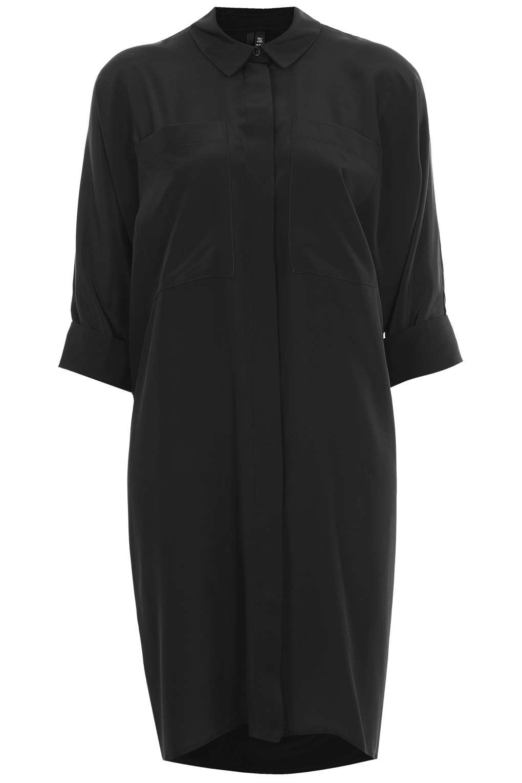 Topshop Silk Shirt Dress In Black Lyst