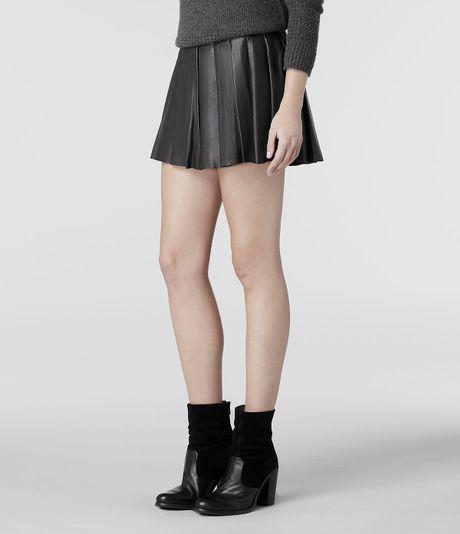 allsaints flore leather skirt in black lyst