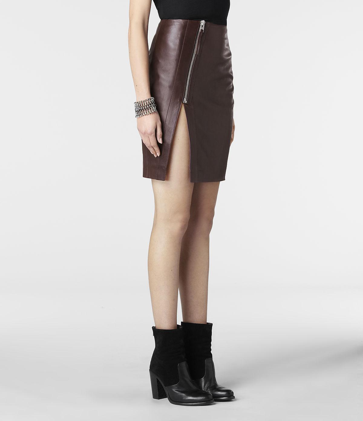 allsaints split lucille leather skirt in lyst
