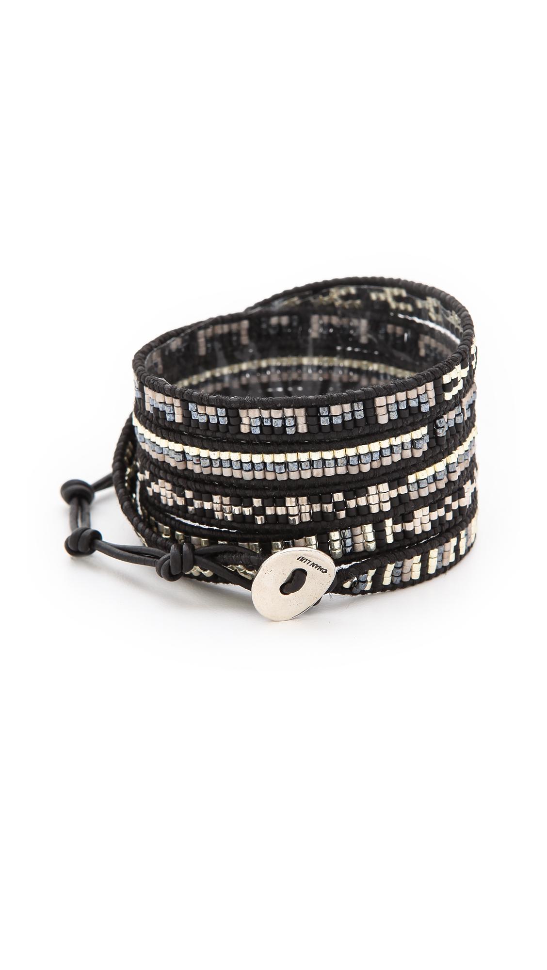 Chan Luu Dark Beaded Wrap Bracelet In Black Lyst