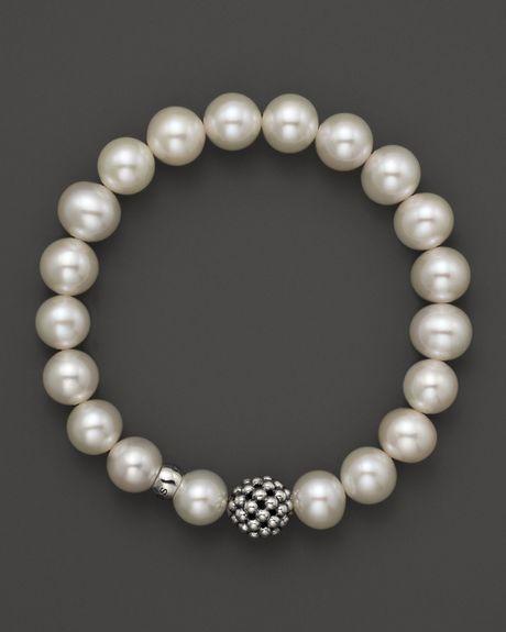 Lagos Caviar 10mm Ball Beaded Pearl Bracelet In White